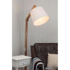 Lampa stojąca Carlyn jasne drewno/biała 30 Brilliant