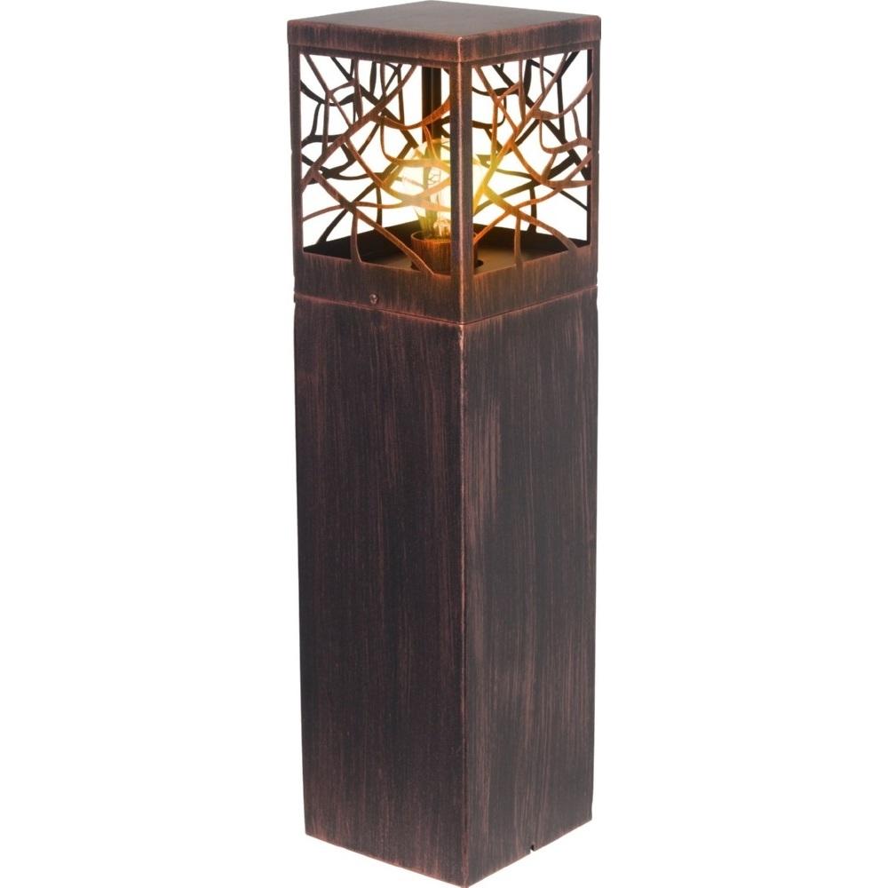 Lampa zewnętrzna stojąca retro Whitney Rdzawa Brilliant przed dom i podjazd.