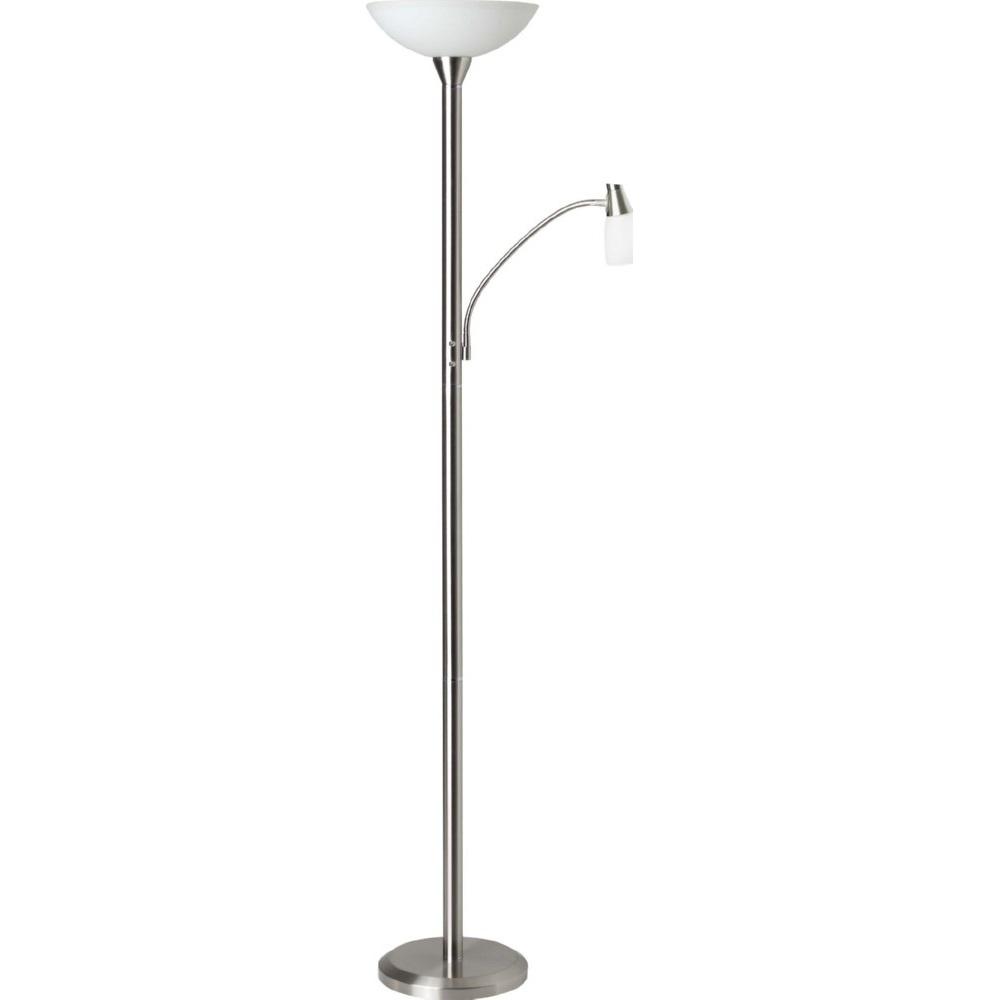 Stylizowana Lampa podłogowa szklana antyczna Lucy Satynowy Chrom Brilliant do hotelu i restauracji.