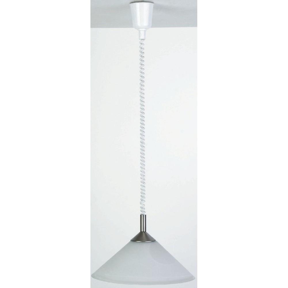 Nowoczesna Lampa wisząca szklana Ariana 38 Satynowy Chrom/Alabastrowa Brilliant do salonu, sypialni i kuchni.