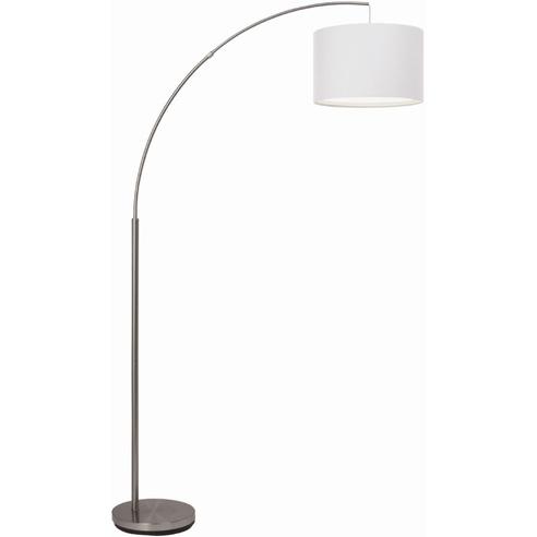 Lampa podłogowa łukowa z abażurem Clarie Satynowy Chrom/Biała Brilliant do czytania, sypialni i salonu.