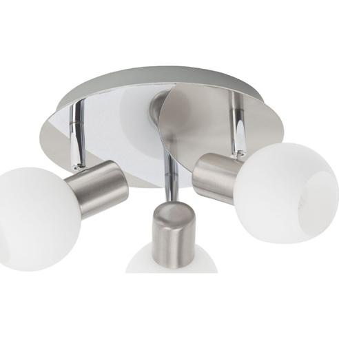 Kierunkowy Plafon szklany potrójny Tiara III Satynowy Chrom/Biały Brilliant do przedpokoju, salonu i kuchni.