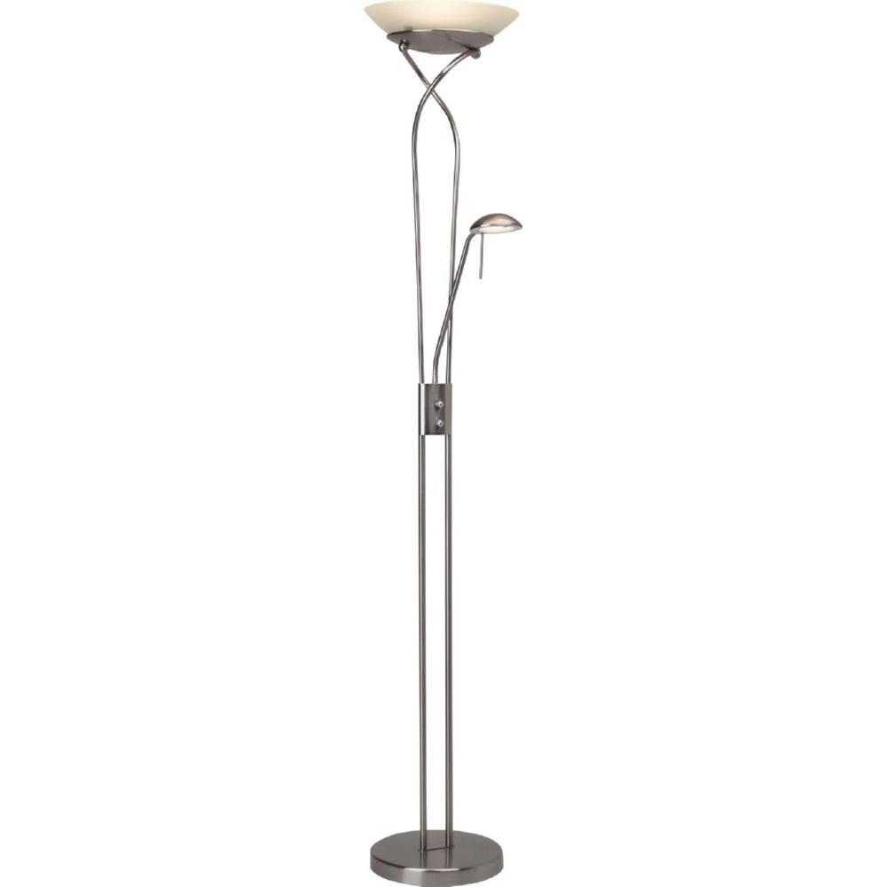 Stylizowana Lampa podłogowa szklana antyczna Ollie Led Satynowy Chrom/Biała Brilliant do hotelu i restauracji.