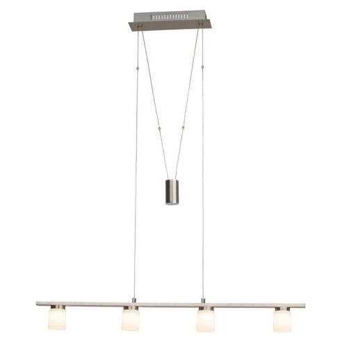 Stylowa Lampa wisząca szklana podłużna Betsy IV Led Satynowy Chrom/Biała Brilliant nad stół, biurko lub do recepcji.