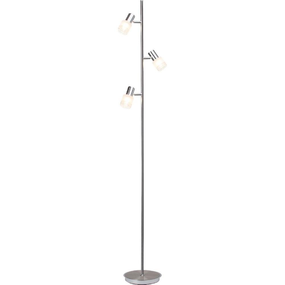 Nowoczesna Lampa podłogowa szklana Lea Led Satynowy Chrom/Chrom Brilliant do salonu, sypialni i poczekalni.