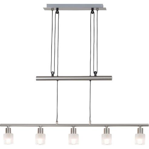 Stylowa Lampa wisząca szklana podłużna Lea V Led Satynowy Chrom/Chrom Brilliant nad stół, biurko lub do recepcji.