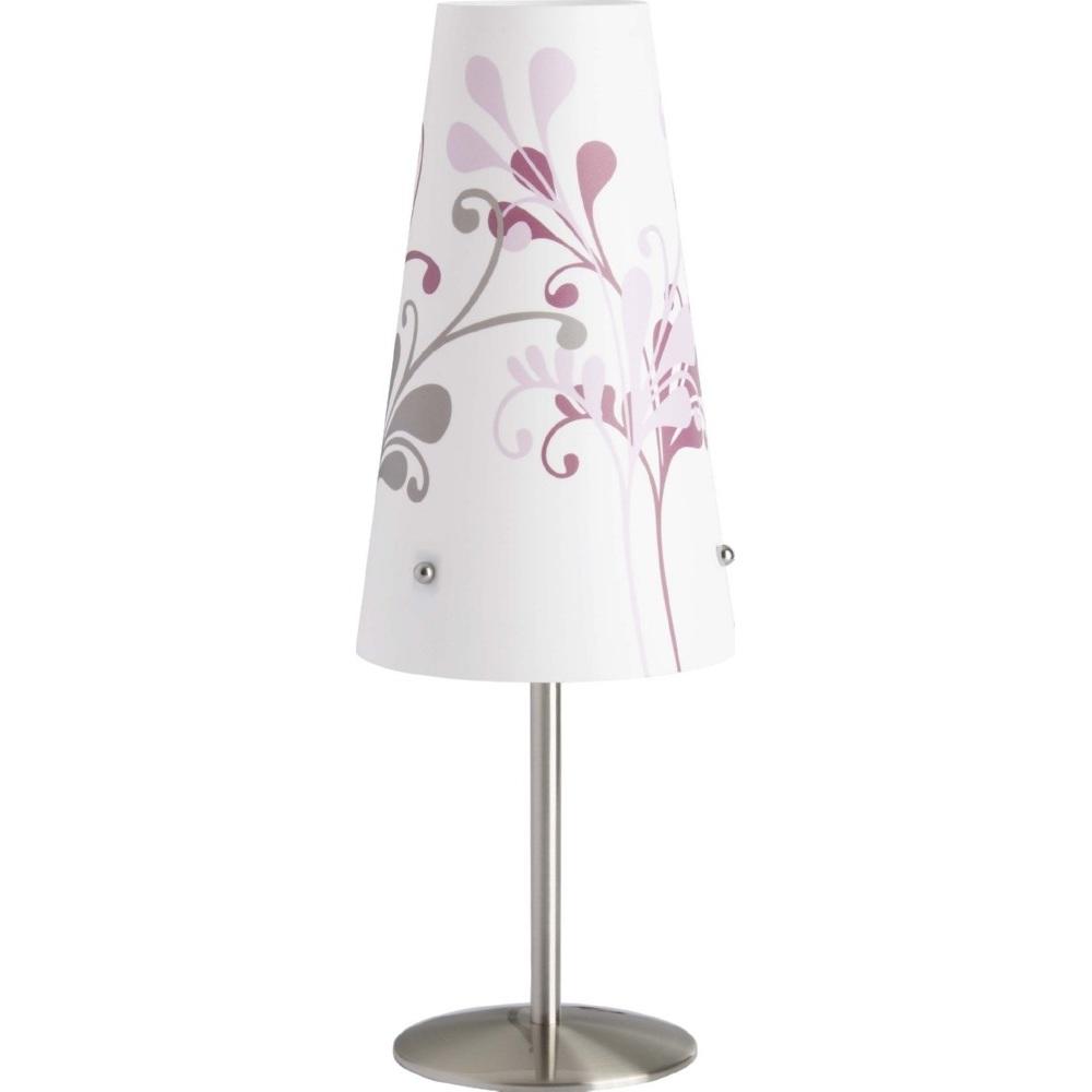 Lampa stołowa klasyczna Isi Satynowy Chrom/Liliowa Brilliant do salonu i sypialni.