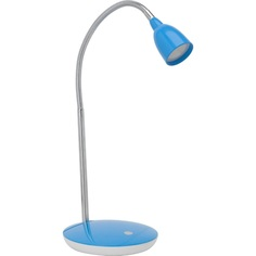 Lampa młodzieżowa biurkowa Anthony Led Satynowy Chrom/Niebieska Brilliant na biurko do pokoju dziecięcego i młodzieżowego.