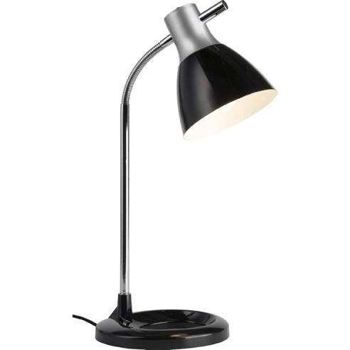 Funkcjonalna Lampa biurkowa Jan Srebrna/Czarna Brilliant do gabinetu i pracowni.