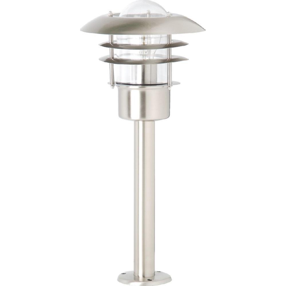 Lampa zewnętrzna stojąca Terrence Stalowa Brilliant przed dom i podjazd.