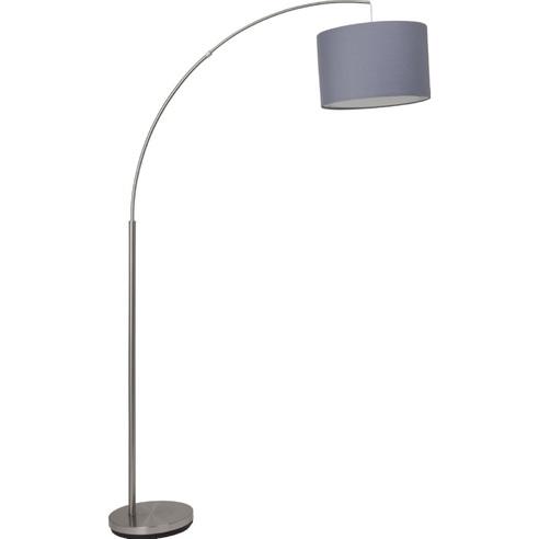 Lampa podłogowa łukowa z abażurem Clarie Szara Brilliant do czytania, sypialni i salonu.