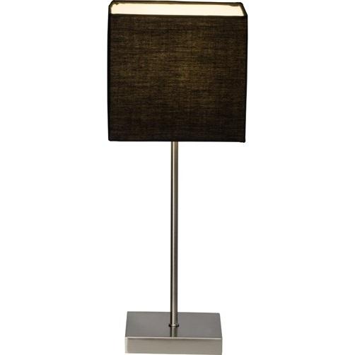 Lampa stołowa z abażurem Aglae Szara Węgiel Brilliant do salonu i sypialni.