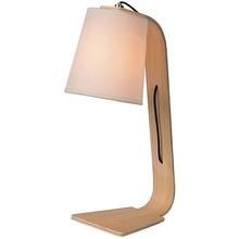 Stylowa Lampa biurkowa drewniana skandynawska Nordic Biała Lucide na biurko do gabinetu.