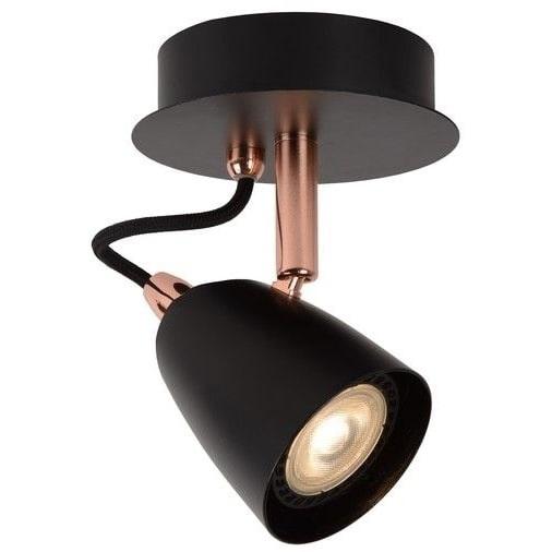 Reflektor sufitowy nowoczesny Ride Led Czarny/Miedź Lucide do kuchni, przedpokoju i sypialni.