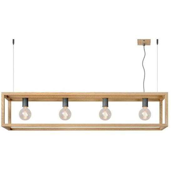 Stylowa Lampa wisząca skandynawska podłużna Oris 120 Jasne Drewno Lucide nad stół, biurko lub do recepcji.