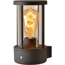 Kinkiet zewnętrzny latarnia z czujnikiem zmierzchu Lori Czarny Lucide na taras, elewacje i nad drzwi.