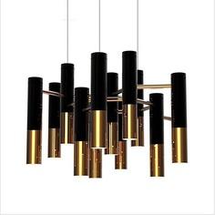 Lampa wisząca GOLDEN PIPE 13 czarno złota Step Into Design