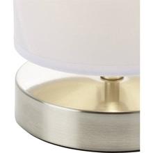 Lampa stołowa z abażurem Clarie Satynowy Chrom/Biała Brilliant do salonu i sypialni.