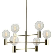 CAPITAL lampa wisząca 6L mosiądz