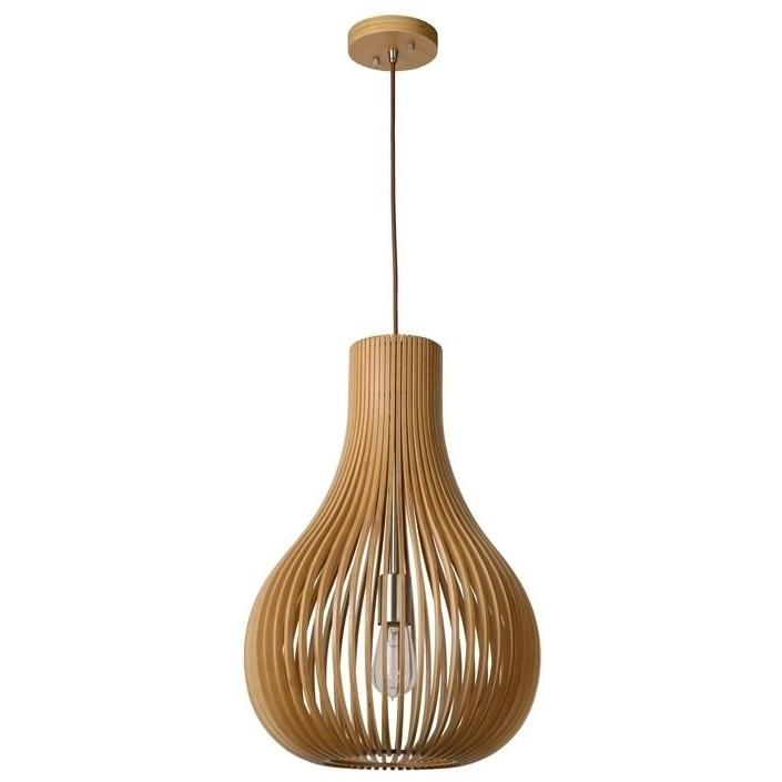 Skandynawska Lampa wisząca drewniana Bodo 38 Jasne Drewno Lucide do sypialni i salonu.