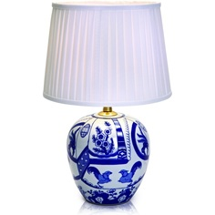 GÖTEBORG lampa stołowa 1L 30,5cm niebieska/biała