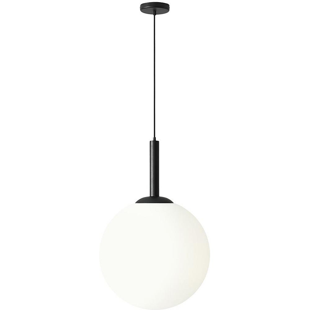 Designerska Lampa wisząca szklana kula Balia 50 biało-czarna Aldex do salonu, kuchni i holu.