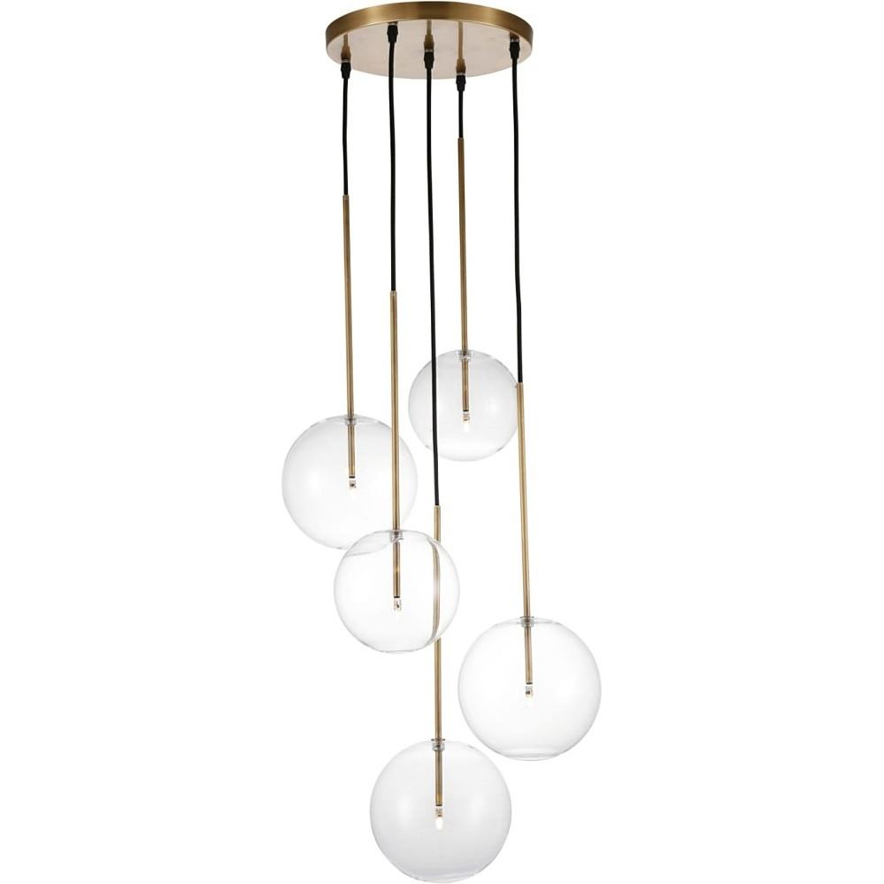 Glamour Lampa wisząca szklane kule Cayo 44 przezroczysto-złota Gilli do sypialni, salonu i restauracji.
