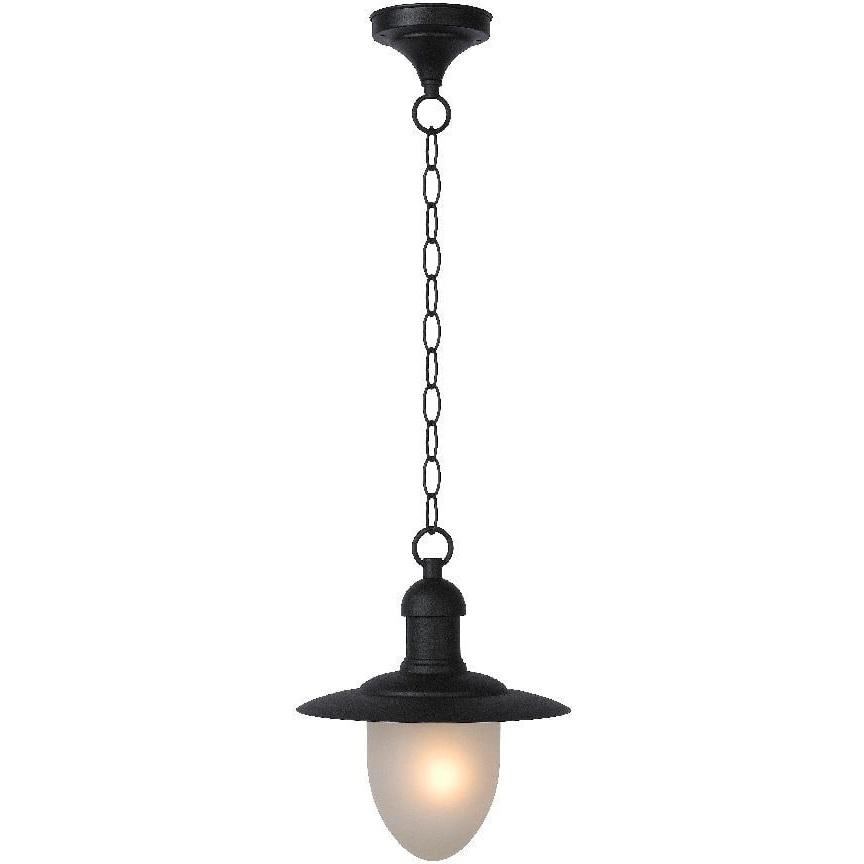Lampa zewnętrzna wisząca retro Aruba 25 Czarna Lucide na taras i do ogrodu.
