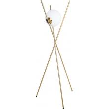 Ładna Lampa szklana podłogowa glamou Xena biało-złota MaxLight do salonu i sypialni.