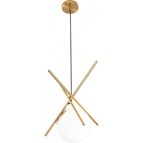 Elegancka Lampa szklana wisząca kula glamour Xena biało-złota MaxLight do salonu i jadalni.
