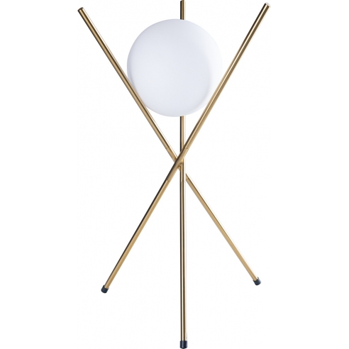 Lampa stołowa szklana kula glamour Xena biało-złota MaxLight do salonu i sypialni.