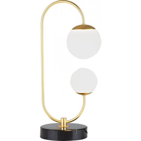 Lampa stołowa szklana glamour Toro LED biało-złota MaxLight do salonu i sypialni.