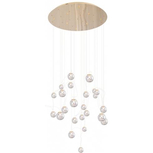 Elegancka Lampa szklana wiszące kule glamour Zoe 80 LED złota MaxLight do salonu i jadalni.