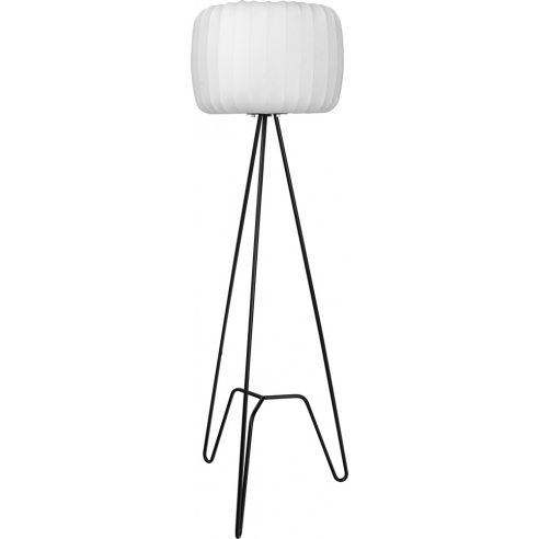 Ładna Lampa podłogowa trójnóg z abażurem Tripod III biało-czarna MaxLight do salonu i sypialni.