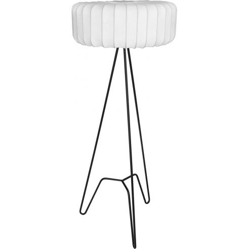 Ładna Lampa podłogowa trójnóg z abażurem Tripod II biało-czarna MaxLight do salonu i sypialni.