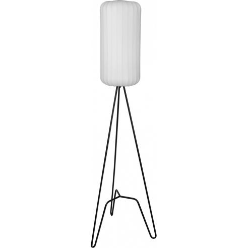 Ładna Lampa podłogowa trójnóg z abażurem Tripod I biało-czarna MaxLight do salonu i sypialni.