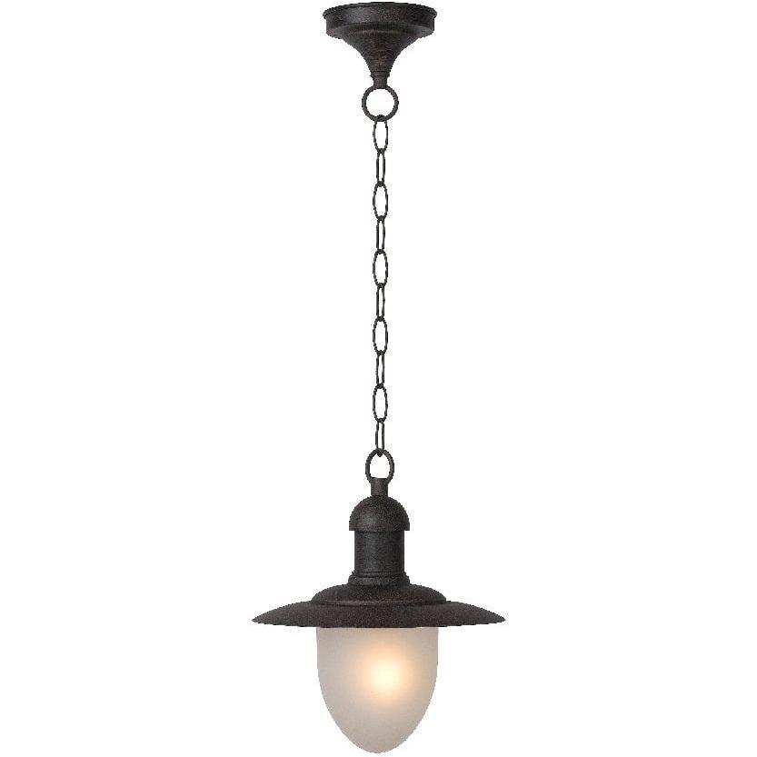 Lampa zewnętrzna wisząca retro Aruba 25 Rdzawa Lucide na taras i do ogrodu.