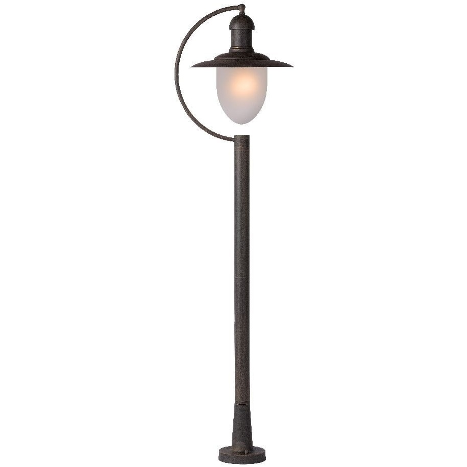 Lampa zewnętrzna stojąca retro Aruba Rdzawa Lucide przed dom i podjazd.