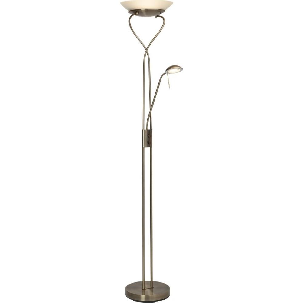 Stylizowana Lampa podłogowa szklana antyczna Ollie Led Antyczny Mosiądz Brilliant do hotelu i restauracji.