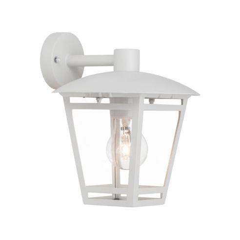 Kinkiet zewnętrzny latarnia Riley Biały Brilliant na taras, elewacje i nad drzwi.