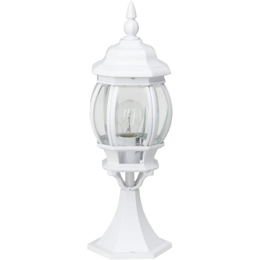 Lampa zewnętrzna stojąca retro Istria Biała Brilliant przed dom i podjazd.