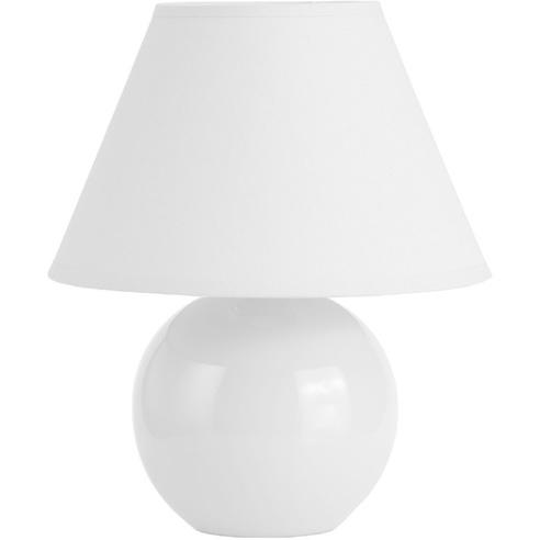 Lampa stołowa ceramiczna z abażurem Primo 20 Biała Brilliant do salonu i sypialni.