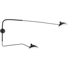 Designerski Kinkiet podwójny na wysięgniakch Crane II Czarny Step Into Design do sypialni i salonu.