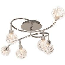 Stylizowany Plafon szklany glamour Joya VI Chrom Brilliant do sypialni, salonu i przedpokoju.