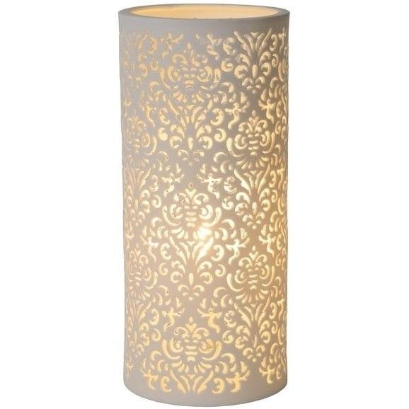 Lampa stołowa ceramiczna orientalna Kant 12 Biała Lucide do sypialni, salonu i na stół.
