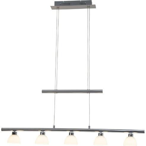 Stylowa Lampa wisząca szklana podłużna Tonja V Led Chrom/Biała Brilliant nad stół, biurko lub do recepcji.