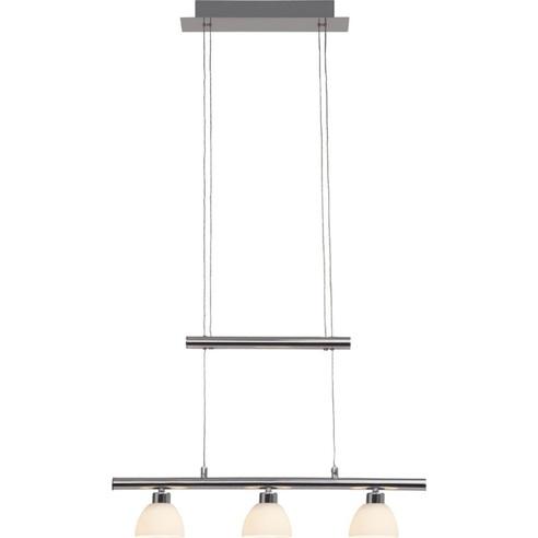 Stylowa Lampa wisząca szklana podłużna Tonja III Led Chrom/Biała Brilliant nad stół, biurko lub do recepcji.