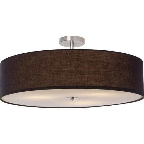 Plafon okrągły z abażurem Andria 60 Brązowy Brilliant do sypialni, kuchni i przedpokoju.
