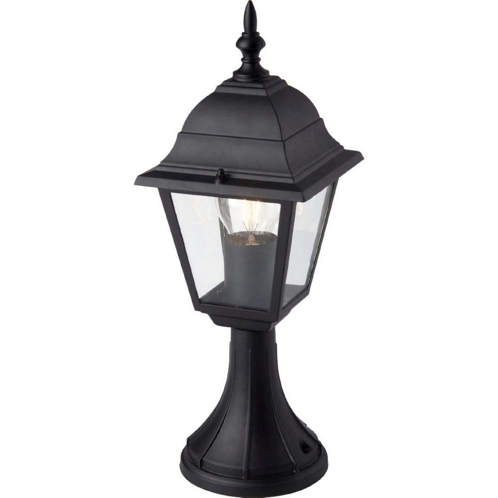 Lampa zewnętrzna stojąca retro Newport Czarna Brilliant przed dom i podjazd.