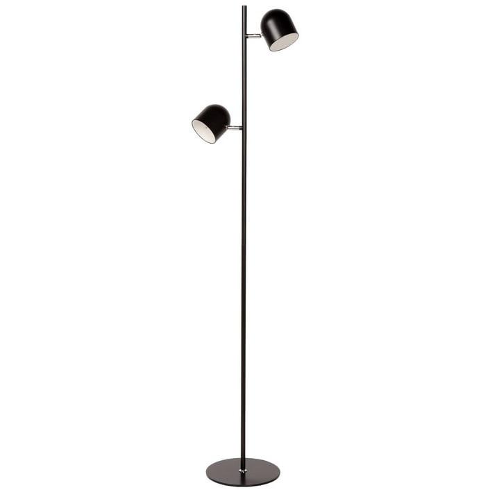 Skandynawska Lampa podłogowa podwójna Skanska Led Czarna Lucide do salonu i sypialni.